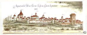 1 vue  - Aspect de la Ville de Pont de Veyle du Costé de Septentrion / Robert Charnet. (ouvre la visionneuse)