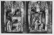 1 vue  - Eglise de Brou - figures du retable de la chapelle de la Vierge - l'Annonciation et la Visitation (ouvre la visionneuse)