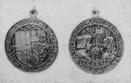 1 vue  - Eglise de Brou - médaille commémorative de l'entrée de Philibert le Beau et de Marguerite d'Autriche à Bourg (1502) (ouvre la visionneuse)