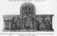 1 vue  - Eglise de Brou - Exposition d'art religieux ancien - Août-Septembre 1933 - retable en pierre polychromée, provenant du couvent des Cordeliers à Bourg (ouvre la visionneuse)