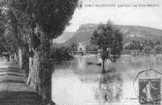 1 vue  - le pont de Cordon pendant les innondations (ouvre la visionneuse)