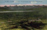 1 vue  - les Alpes et le Léman - vue panoramique, prise de la route de la Faucille (ouvre la visionneuse)