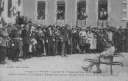 1 vue  - Campagne 1914-1915 - Souvenir de l'hôptal auxiliaire 207 à Oyonnax - Remise solennelle de la Médaille Militaire au Chasseur Béraud du 15e bataillon de chasseurs à pied (ouvre la visionneuse)
