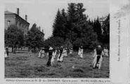 1 vue  - abbaye cistercienne de Notre-Dame-des-Dombes - gare et poste - les moines au travail - la fenaison (ouvre la visionneuse)