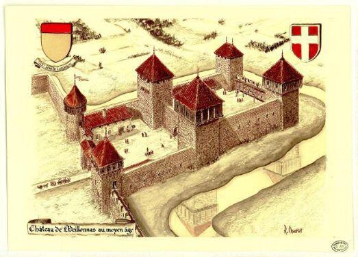 Château de Meillonnas au moyen âge / Robert Charnet.  Courmangoux Charnet début XXIe siècle
